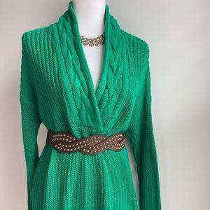 Lauren Ralph Lauren Green cable knit sweater dress